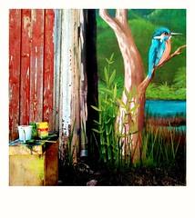 Antes de ser cemento,somos roca volcánica... (Felipe Smides) Tags: smides murales muralismo pintura mural felipesmides kingfisher martinpescador arrayán quila