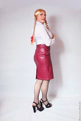 Back to work 2 (eileen_cd) Tags: secretary leatherskirt highheels patternedtights braids bows whiteblouse crossdresser transvestite cd tv standing