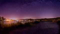 Whiffen Spit-Pano-Edit (Graveyardworker) Tags: britishcolumbia graveyardworker ocean vancouverisland whiffenspit adventure art bc beach canada graveyardwork landscape light lightart longexposure lpwalliance night nightlights nightphotography nightsky nightscape outdoors pacificnorthwest pacificocean pano panorama reflections rocksandwater sooke sookeharbour stars