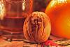 A little sherry, a clementine and a walnut. (christina.marsh25) Tags: macromondays litbycandlelight glass sherry walnut clementine advent candle candlelight christmas