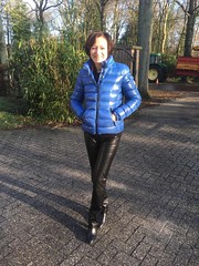 My beautiful wife ready to go shopping in Antwerp (valkex1) Tags: black leather pants trousers mature moncler bady jacket blue