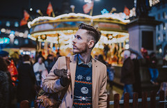 Carousel (Mark Liddell) Tags: markliddell me self portrait scottish boy man guy ear piercing scaffold industrial stubble shaved hair fade side part style selfie ugly christmas jumper sweater starwars star wars deathstar death xwing tie fighter tiefighter rebels empire republic space knit knitwear snowflake glasgow scotland georgesquare night noflash street fashion bokeh lights carousel market fairground carnival architecture blue eyes winter gloves anewhope theforceawakens thelastjedi nerd geek fence
