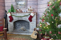 18. Fireplace (Foxy Belle) Tags: doll diorama christmas cabin log woodsy rustic lodge holiday handmade 16 scale paper decorate festive barbie winter fireplace diy