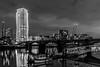 London   |   Lombard Wharf (JB_1984) Tags: lombardwharf tower skyscraper apartments housing development bridge river thames riverthames water reflection pier chelseaharbourpier boat thamespath blackandwhite bw mono imperialwharf chelseaharbour chelsea royalboroughofkensingtonandchelsea london england uk unitedkingdom nikon d500 nikond500