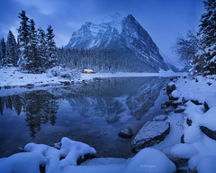 'Slipping Away' - Lake Louise, Alberta (Gavin Hardcastle - Fototripper) Tags: lake louise reflections christmas day winter snow ice cold hour blue mountains canada canadian rockies xmas christmasy wonderland gavinhardcastle fototripper