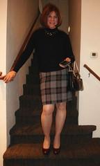 Out for morning coffee (krislagreen) Tags: tg transgender cd crossdresser pencilskirt plaid black pumps maroon hose femme feminizaition feminize