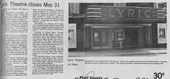 LYRIC Theater Closes May 31, Journal-Republican, Monticello, IL, 1979-05-17 (RLWisegarver) Tags: piatt county history monticello illinois usa il