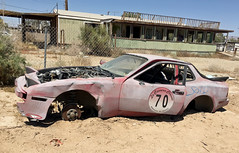 Sold (cowyeow) Tags: abandoned saltonsea beach old forgotten deserted desert california usa america bombaybeach ruins car cars retro vintage rust rusted trashed garbage art folkart display drivein theater theatre cinema movies linedup carlot funny odd weird sold pink pinkcar