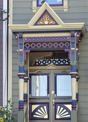 San Francisco, CA, Noe Valley, Victorian House, Door (Mary Warren 13.5+ Million Views) Tags: sanfranciscoca noevalley architecture building house residence victorian entrance portal door circles lines diagonals purple
