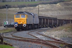 Rail Operations Group 47848 with 47813 approach the exit of Barrington Quarry, with the return spoil empties, Barrington - Wembley Service. 06 12 2017 (pnb511) Tags: class47 diesel loco locomotive trains barringtonlightrailway barrington quarry freight rog railoperationsgroup traction locos locomotives diesels train track