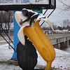The monkey loves his banana (yooperann) Tags: big banana monkey hugging ice cream shop winter roadside america oconto wisconsin odd fun