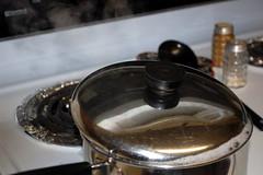 Top Of A Pot. (dccradio) Tags: lumberton nc northcarolina robesoncounty indoors inside pan pot stove cook cooking steaming boilingwater metal handle revereware stovetop range salt pepper bubbles boiling nikon d40 dslr