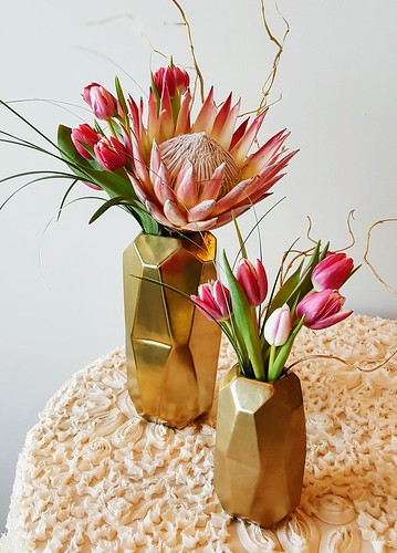 "King Pink Protea_Tulips • <a style=""font-size:0.8em;"" href=""http://www.flickr.com/photos/81396050@N06/38427171134/"" target=""_blank"">View on Flickr</a>"