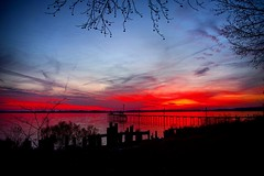 Dec 30th North Carolina sunset. (clking61) Tags: piers sunset sky colors winter pentaxk1 northcarolina camdennc landscape seacape redsky trees silhouette obx