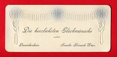 Grußkarte mit Girlandenornament (altpapiersammler) Tags: alt old vintage card karte gruskarte grus grüse greeting regards schriftdesign schrift zierschrift geprägt coined lettering dreieichenhain