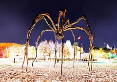 Ottawa (kirstiecat) Tags: spider maman ottawa louisebourgeois art sculpture nationalgalleryofart canada winter cold freezing footsteps night canon vacation holiday festive lights