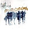 bonne année (Nellytella) Tags: aquarelle coquis foule lyon encre watercolor ink people personnages art umbrellas parapluies