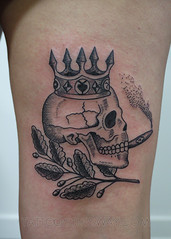 Blackwork Tattoos (tattoosthisway) Tags: skull crown cigar prisontattoo tattoo toronto aliek blackwork etchy woodblock scrimshaw tattoosthisway best