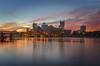 Colors Of The City (Brad Truxell) Tags: hdr pittsburgh exposureblending city sunrise rivers bridges buildings fall autumn nikond7000