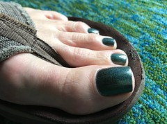 Border of the Forest (toepaintguy) Tags: male guy men man masculine boy nail nails fingernail fingernails toenail toenails toe foot feet pedi pedicure sandal sandals polish lacquer gloss glossy shine shiny sexy fun daring allure gorgeous green christmas holo sparkles tree present