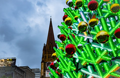 Electronic Christmas (Ross Major) Tags: christmas tree melbourne electronic church clouds victoria lights decorations