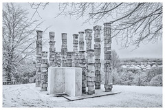 Heritage (ianrwmccracken) Tags: d750 landscape winter weather town snow sculpture concrete contrast fife scotland monochrome nikon glenrothes house nikkor1635mf4 cold park column tree urban branch
