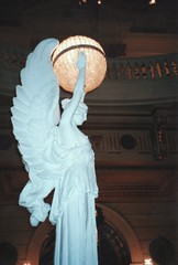 Pennsylvania State Capitol  - Harrisburg Pennsylvania  -  Grand Staircase Statue Light Fixture (Onasill ~ Bill Badzo) Tags: beaux arts renaissance revival style harrisburg pa pennsylvania state capitol grand staircase vintage old photo neon interior nrhp register government onasill building design huston 1902 architect chambers house supreme courts governor complex attraction site tours tourist travel cbd business district architecture light fixture statue white marble