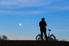 Bike And Moon (orkomedix) Tags: canon 6d munich germany moon sky 24105l silhouette bicycle man outdoor