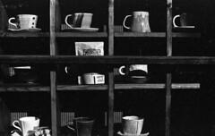 Cups and mugs (odeleapple) Tags: nikon f2 nikkor 50mm yellowfilter kodak400tx cup mug monochrome