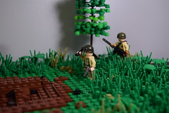 Advance into France, 1944- bringing up the MG (♠York♠) Tags: lego ww2 world war 2 wwii moc minifigs minfig american german france 1944 house battle