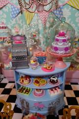 La Petite Patisserie Grand Opening! (Primrose Princess) Tags: kenner blythe barbie doll diorama pastry bakery paris france laduree rement pink blue bunting teashop afternoontea christmas birthday wedding party lapetitepatisserie marieantoinette letthemeatcake princess ninas