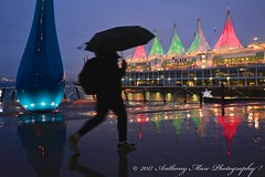 Trans Canada Trail at Vancouver Convention Centre (anthonymaw) Tags: vancouver canada rain weather umbrella christmas westcoast festival reflection lifestyle landscape urban harbour