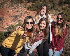 Lovely formation in Sedona (Tex Texin) Tags: arizona sedona girl female friends strangers blondes group tourist people