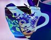 Teatime  #Macromondays #double exposure HMM! (M Chiara B) Tags: elements macromondays doubleexposure teapot cup ceramic blue