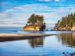 Outbound (Matthew James Lewis) Tags: olympicpeninsula washingtonstate water island firtrees sand reflection beach clouds rocks sky