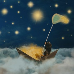 526 Starry Night (Katrina Yu) Tags: surreal conceptual creative concept art stars starry sky night capture woman paperboat story dream fantasy