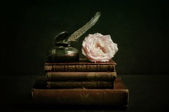 Favourite Things (Christine Padmore) Tags: painterly inkpot ink quill feather rose flowers oldbooks burgundy stilllife still