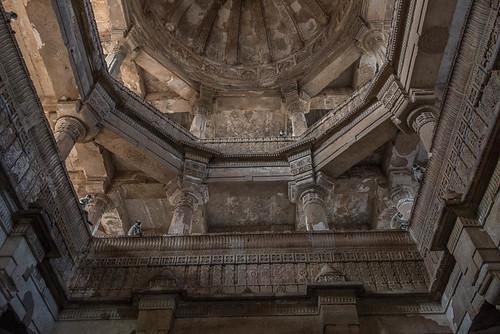 Coupole dans la Jama Masjid (grande mosquée), Champaner, Gujarat, Inde