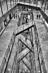 Level crossings (josephteh) Tags: wideangle sigma shopping crossing architecture sony monochrome blackandwhite shoppingmall emporium melbourne