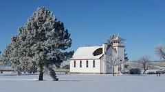 New Year's Frost (Elizabeth Almlie) Tags: southdakota pierre missouririver frost january snow oahechapel chapel church trees