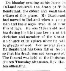 obit - Thomas E Bondurant, Monticello Bulletin (01-20) - 1905-01-16 (RLWisegarver) Tags: piatt county history monticello illinois usa il