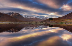 Loch Cluanie cloudscape (snowyturner) Tags: scotland highlands lake reservoir reflections clouds a87 symmetry mountains snow autumn winter