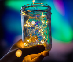 Lighted Jar (Alex Wilson Photography) Tags: lights light lighting yellow fairy led leds wire room decorating jar jars kerr self sealing glass coinjar coin hand hands