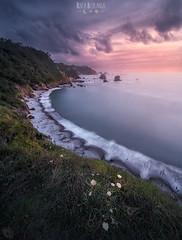 Silencio (rafaberlanga) Tags: sea nature beach coastline landscape scenics sunset outdoors water sky dusk cloudsky beautyinnature wave rockobject summer travel blue seascape cloudscape olympus mzuiko spain asturias