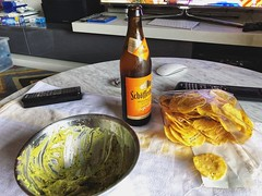 A hot summer day with #guacamole and #beer