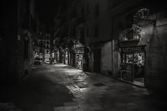 Night in the city... (Dafydd Penguin) Tags: blackandwhite blackwhite black white monochrome mono bw after dark night shots nighthawks urban city town street candid people raw barcelona catalunya catalonia spain nikon df nikkor 20mm af f28d