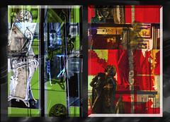 Contrapuestos (seguicollar) Tags: imagencreativa photomanipulación art arte artecreativo artedigital virginiaseguí artdecó espejos marcos escultura busto mujer estatua exposición red rojo verde green díptico