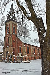 Unionville  Church with manger (rcss2800) Tags: christmas church tree trees landscape winter window sky grass building snow snowing