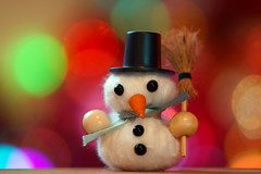 Snowman at Christmas (steve_whitmarsh) Tags: christmas decorations lights snowman craft art colour green red purple macromondays memberschoicebokeh