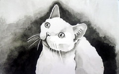 Cat, by Elza M. - DSC01897-001 (Dona Minúcia) Tags: art painting watercolro study paper cat animal cute friend buddy arte pintura aquarela gato fofo gracinha amigo